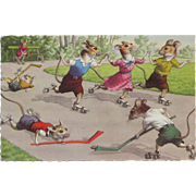 Post Card Mainzer Artist Signed with Dressed Mice Playing Soccer FREE Shipping