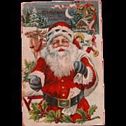 Santa Post Card Christmas with Reindeer