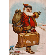 Santa Post Card Christmas 1911 with Suitcase in Hand - Red Tag Sale Item