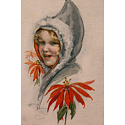 Christmas Post Card 1916 Artist Signed Dowell