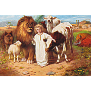 Artist Signed Post Card Animals with Little Jesus