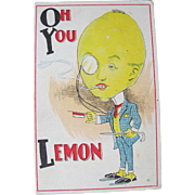 Post Card Comical Dressed Fruit Lemon Unused