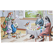 Post Card Dressed Cats and Animals Alfred Mainzer