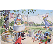 Artist Signed Postcard Alfred Mainzer with Dressed Cats Hanging Clothes