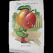 Tucks Postcard with Dressed Peach Artist Signed B. Curtis