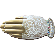 Volupte Compact Brushed Goldtone Hand Shaped Compact with Lace Glove
