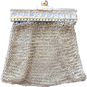 Art Deco 1920's Mesh Coin Purse with Paste Jewels Gold Plated  Doll Purse
