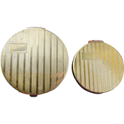 Art Deco Compacts in Gold Metal Rouge and Powder 1920's