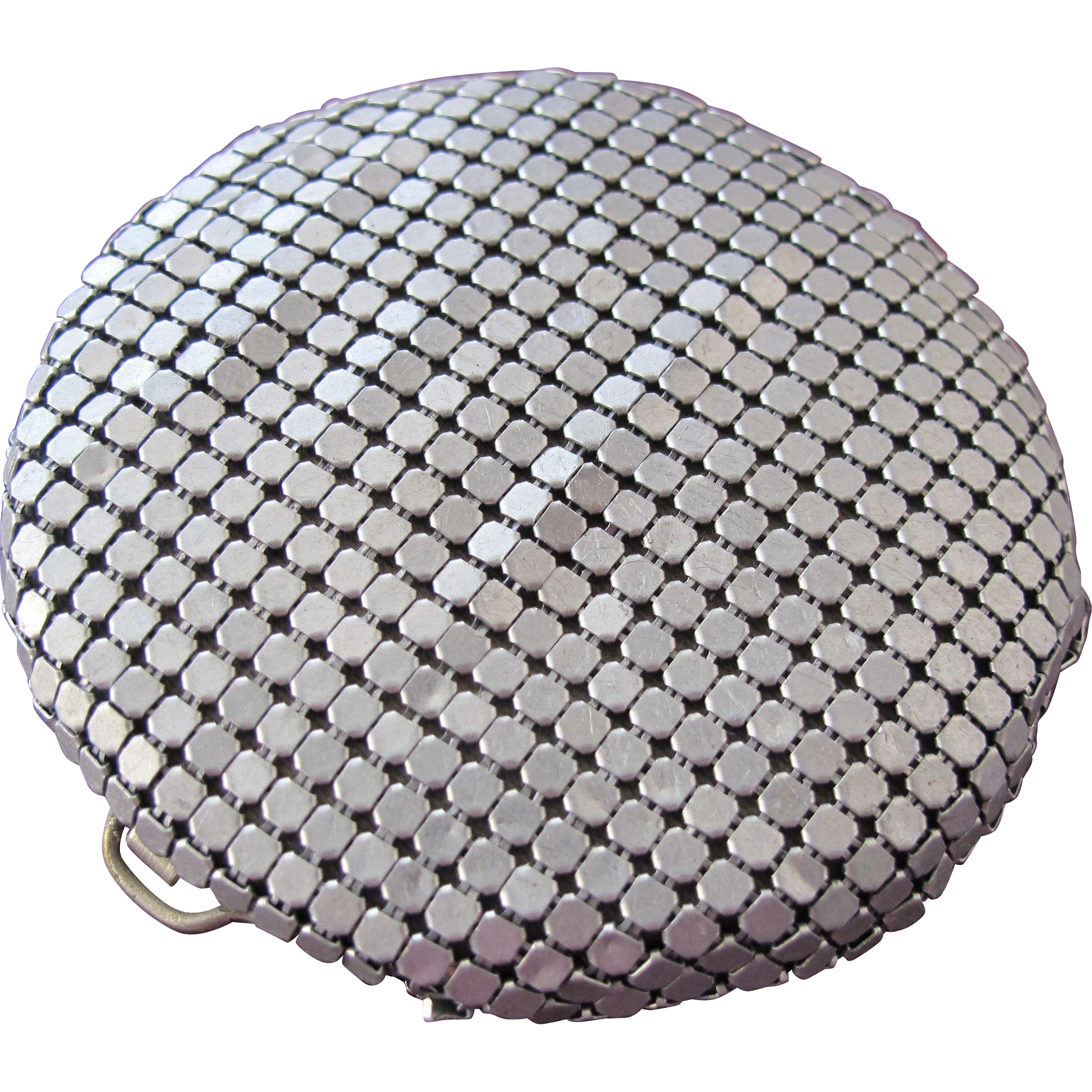 Mesh Compact with Enamel Deco Design Leather Pouch