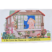 Novelty Postcard with Souvenir Pictures of Liverpool with Art by Mabel Lucie Attwell Signed