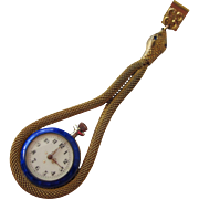 Ladies Antique Watch with Guilloche Enamel on Snake Chain Swiss Movement