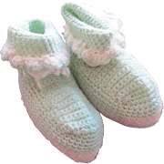 Vintage Crocheted  Doll Shoes Baby Booties