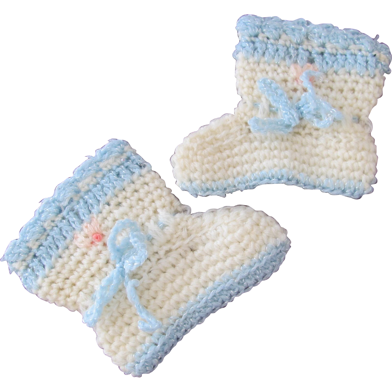 Baby Doll Shoes Crocheted Vintage Handmade Shoes