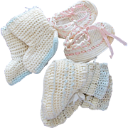 Baby Doll Shoes Crocheted Hand Made Vintage Three Pairs