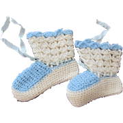 Baby Doll Shoes Crocheted Hand Made Vintage