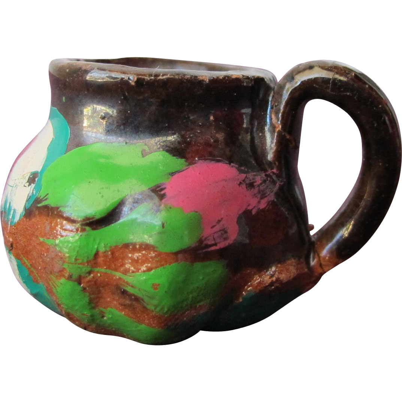 Dollhouse Terracotta Vintage Pitcher Pot Hand Painted