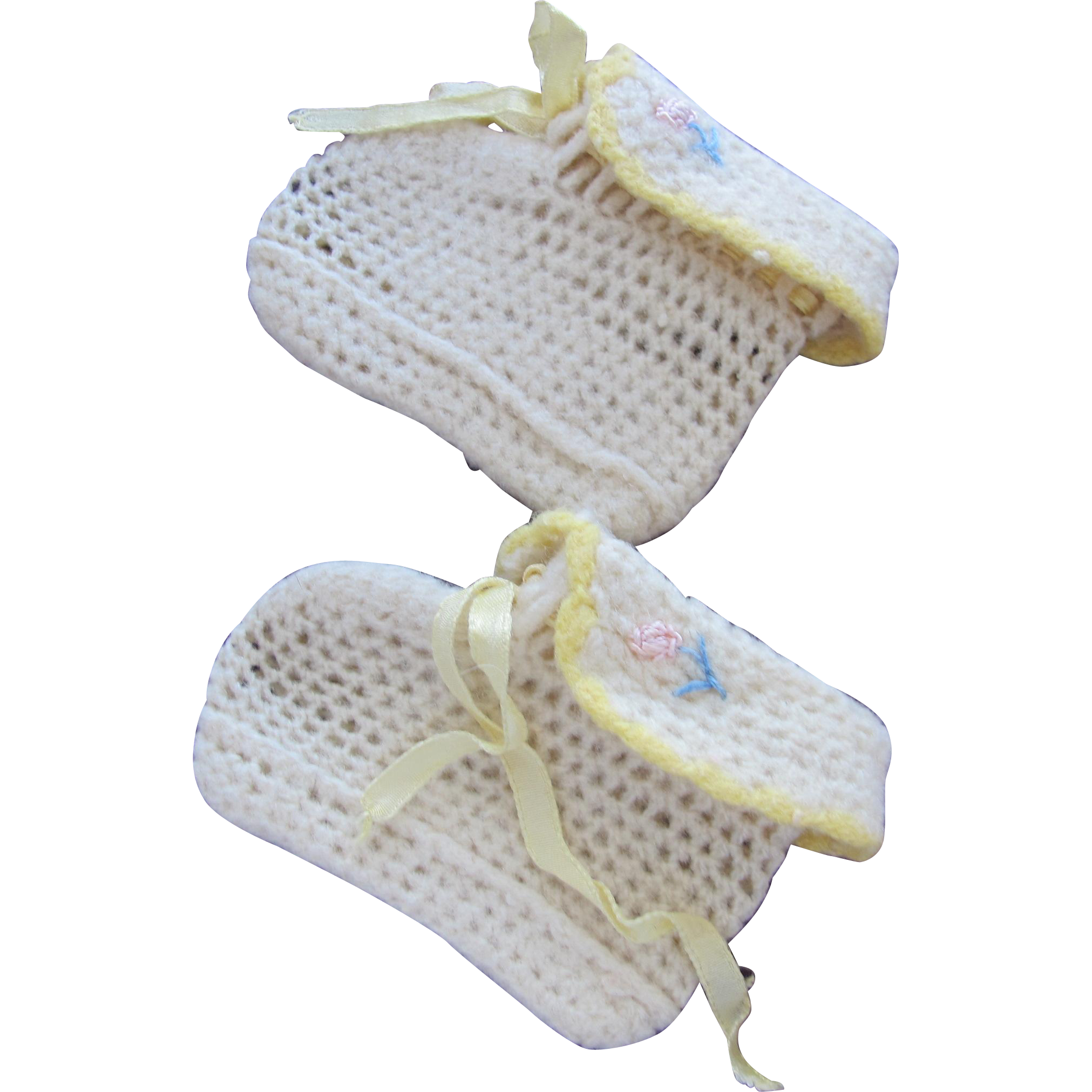 Baby Doll Shoes Vintage Hand Made Crochet Shoes for Infant or Doll
