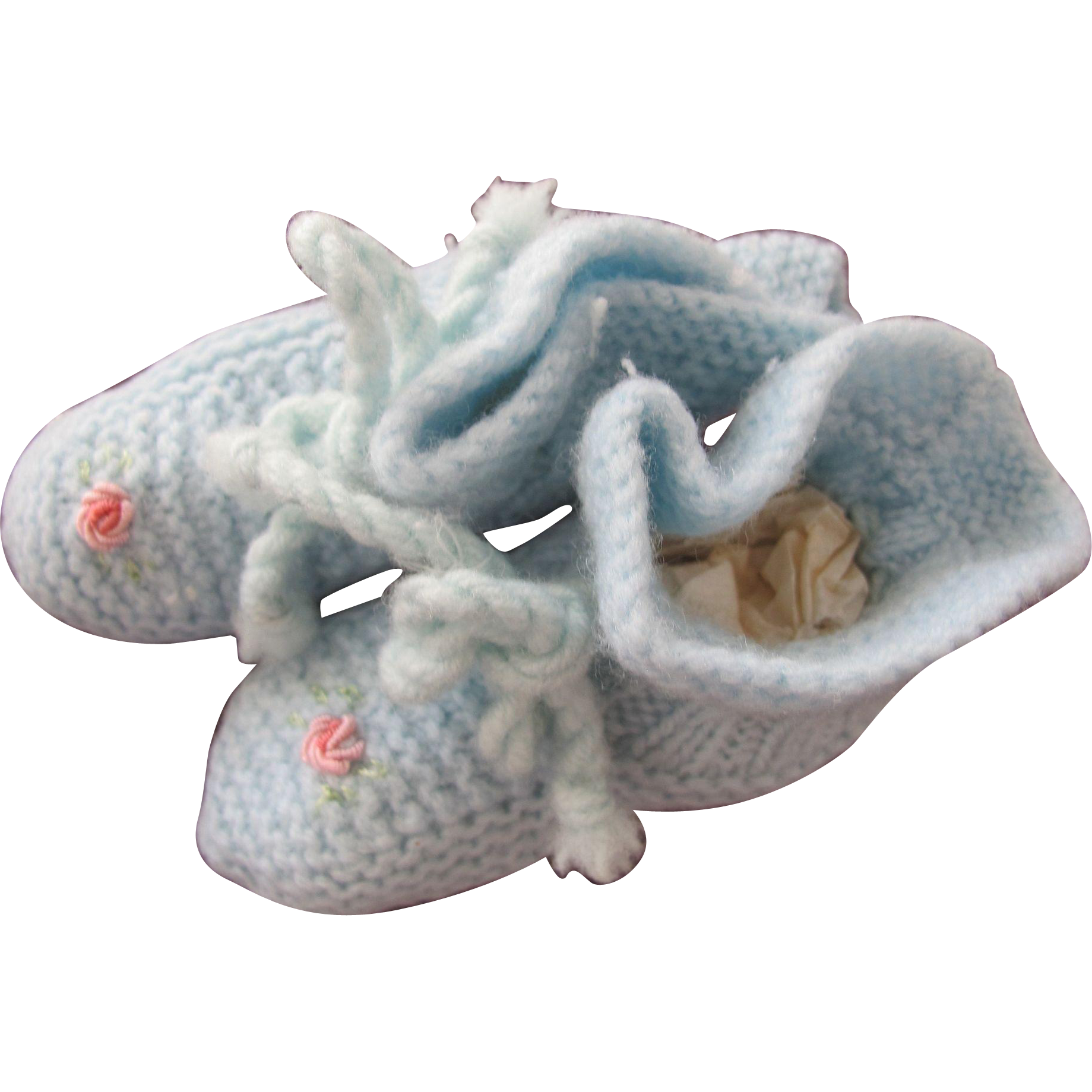 Baby Doll Shoes Hand Made Knitted in Blue