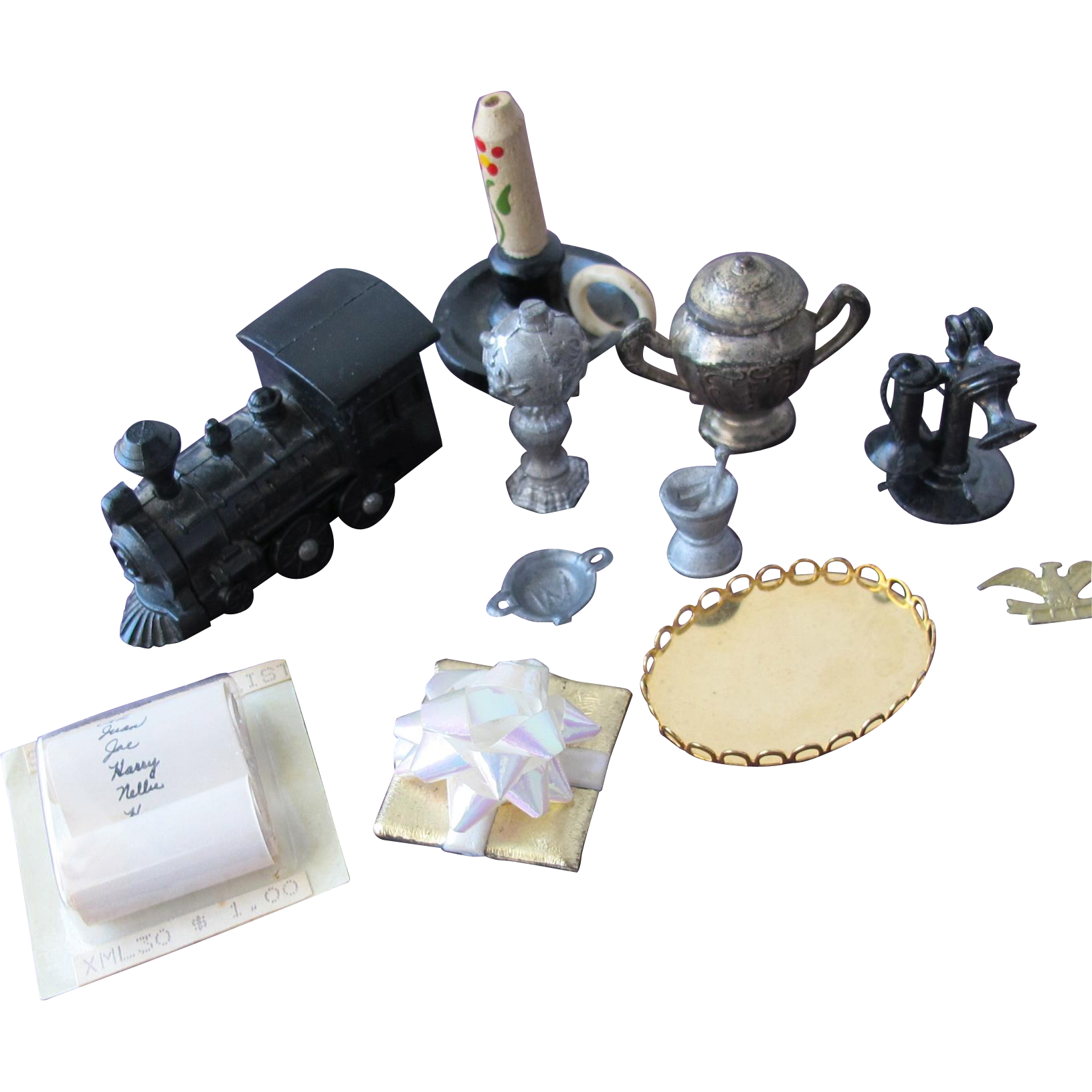 Doll House Accessories Vanity Tray Lamp Pan Telephone Teapot Train Candle Holder Santas List 1:12