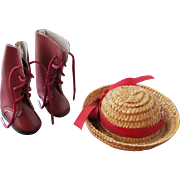 Doll Shoes and Straw Hat for Doll