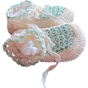 Baby Shoes Hand Crocheted Green with Rose