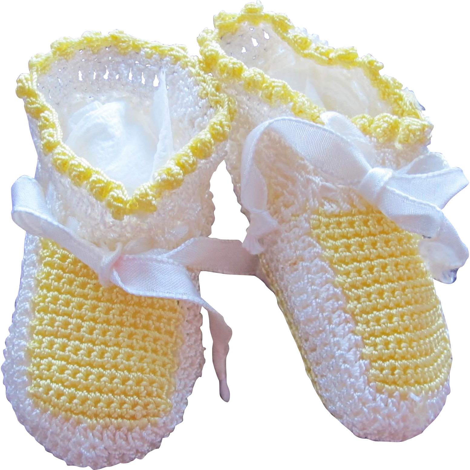 Doll Shoes Hand Crocheted in Yellow and White Baby Booties