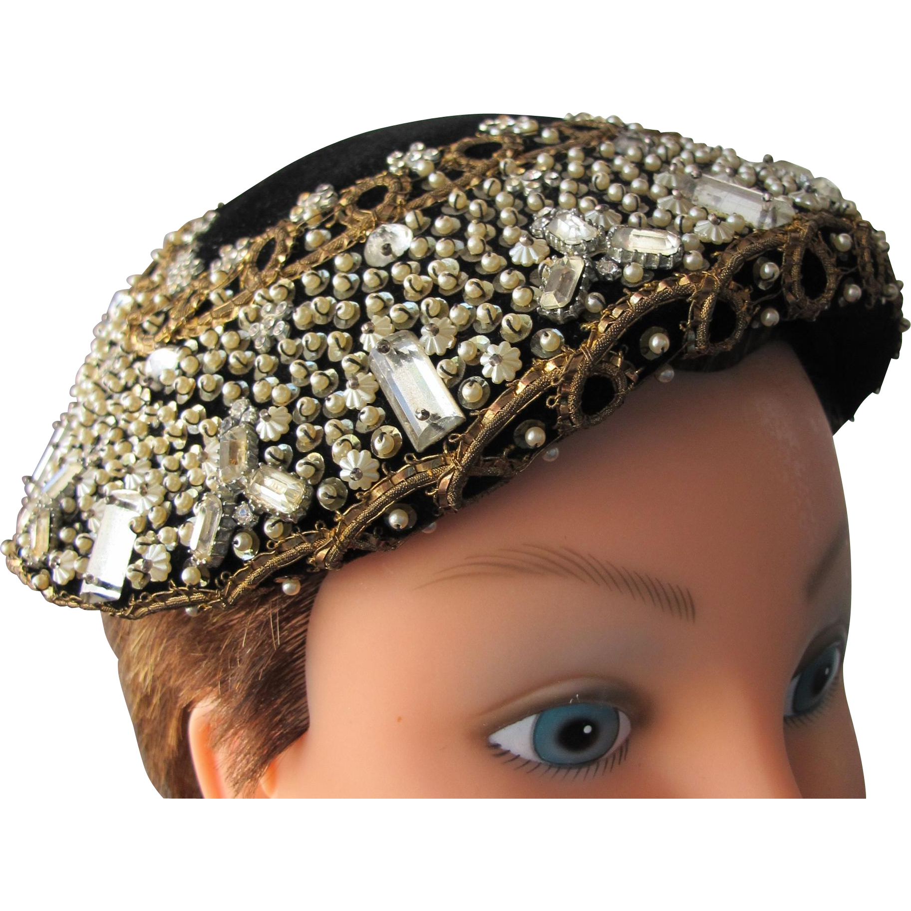 Cloche Hat Beaded and Jeweled Made in France Pristine