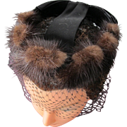 Fur Hat with Satin Bow and Netting