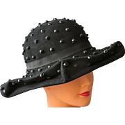 Vintage Hat in Black Felt with Beads and Bow
