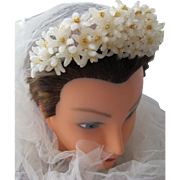 Bridal Tiara Head Piece of Wax Flowers Comb Veil