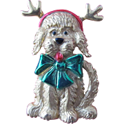 Christmas Pin Brooch with Christmas Dog with Bow and Antlers