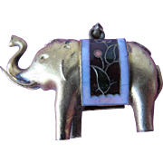 Gold Brass Elephant Pin with Enamel 1960's