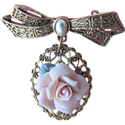 1950's Pendant with Pink Porcelain Rose and Faux Pearl