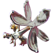 Orchid Pendant Dipped in 24 K Gold from 1970's