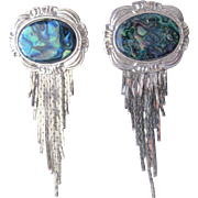 Earrings with Abalone and Silver Metal Dangler Chains 1980's