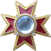 Red Enamel Pendant Cross with Rhinestones