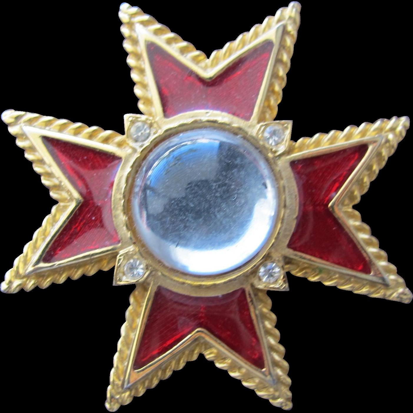 Red Enamel Pendant Cross with Rhinestones