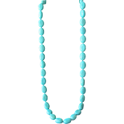Turquoise Howlite Large Beads Long Necklace Beautiful Color Aqua