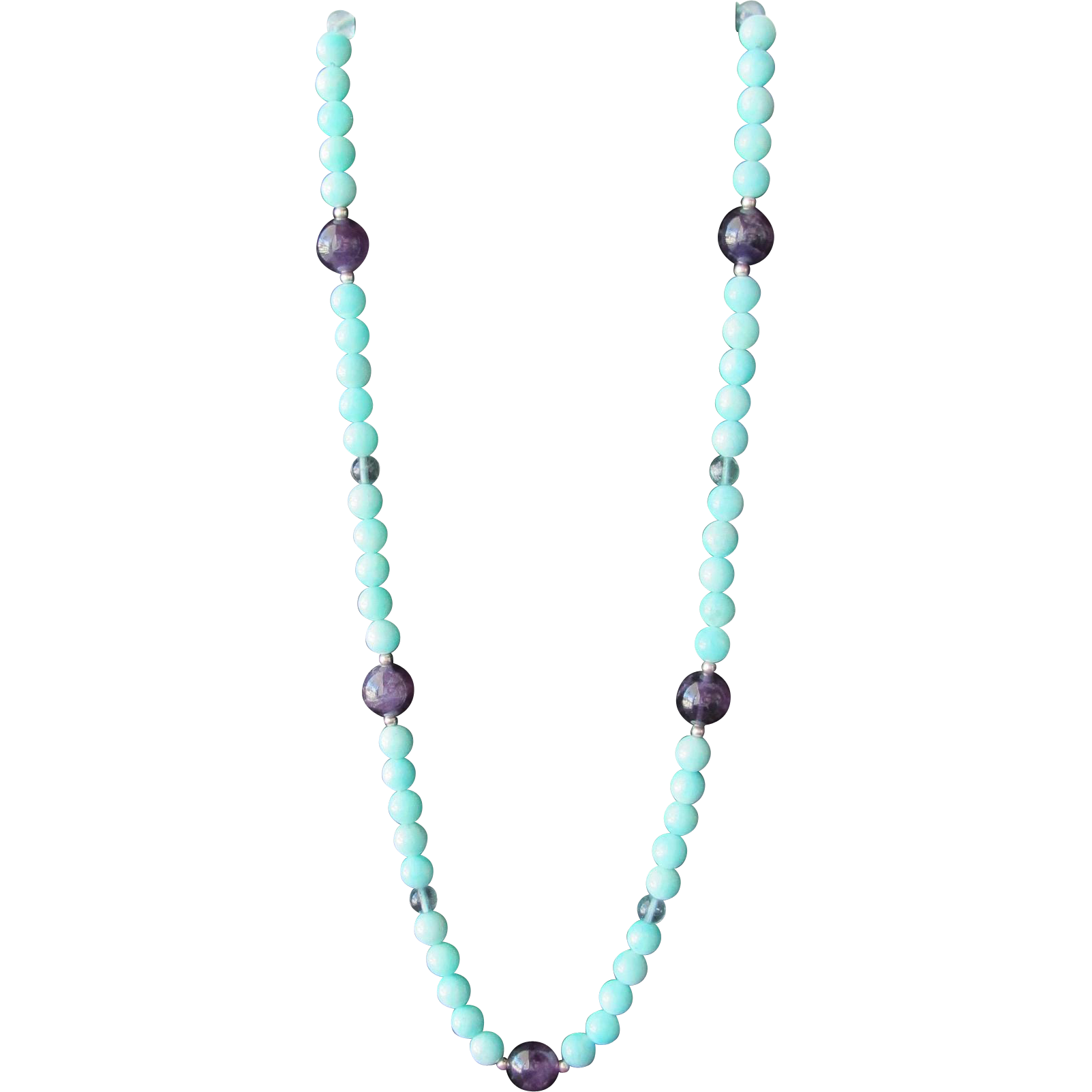 Turquoise Glass Beaded Necklace with Purple Beads 24 Inches