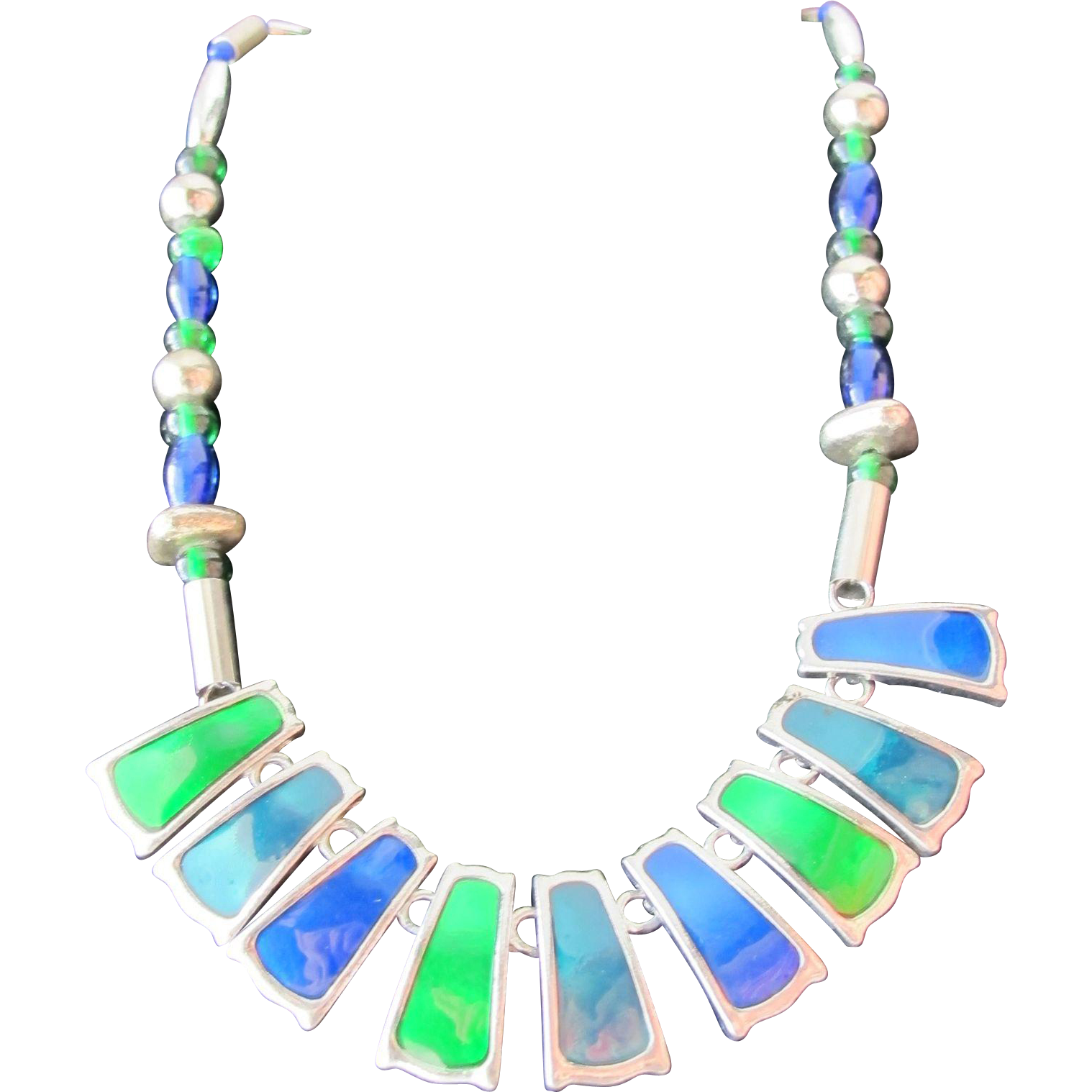 Enamel Necklace of Green and Blue Enamel with Silver Beads