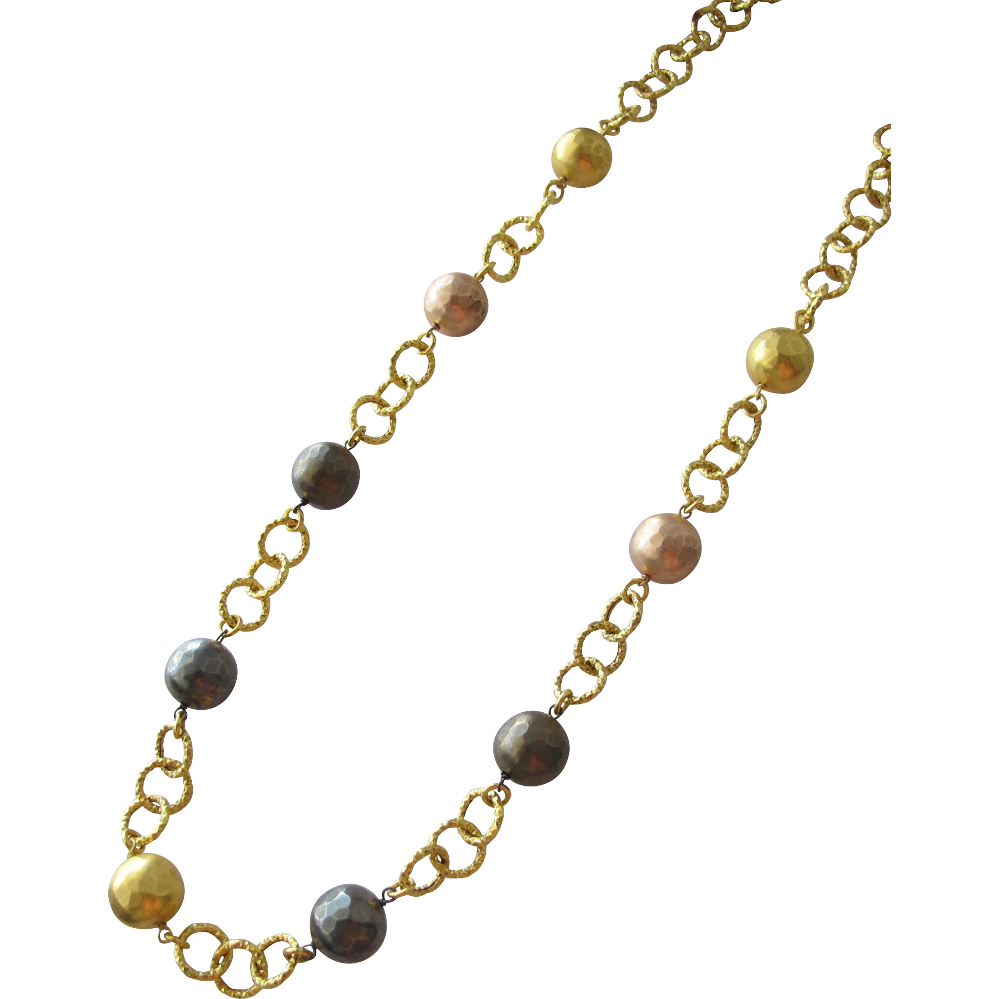 Chain Necklace with Metal Beads of Gold Pewter and Copper Italy