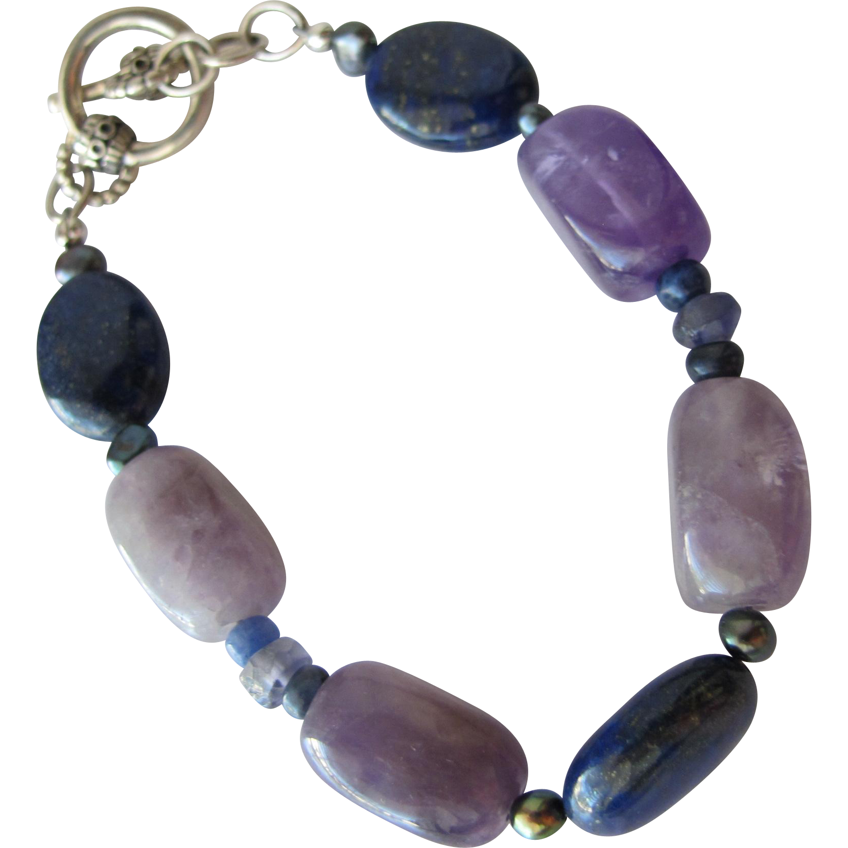 Bracelet of Lapis Lazuli and Amethyst Quartz Polished Stones with Sterling Silver