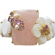 Bracelet of Cultured Pearls Amethysts Carved Pink Quartz and MOP