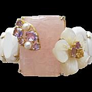 Bracelet of Cultured Pearls Amethysts Carved Pink Quartz and MOP