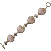 Heart Bracelet Pink Quarts with Ornate Details of Gold Overlay and Silver