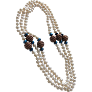 Necklace of White Sea Pearls with Copper and Blue Beads Fifty Two Inches