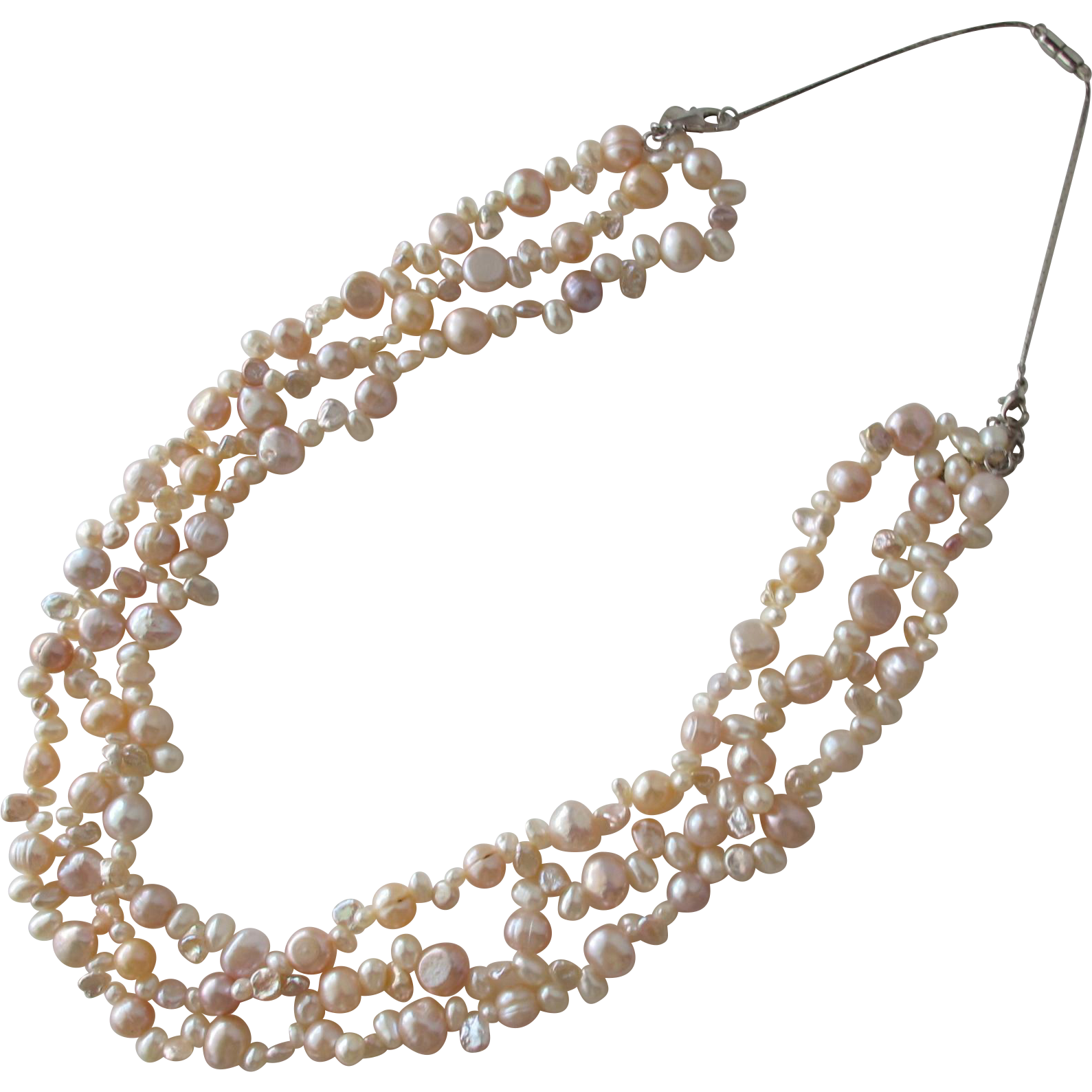 Baroque Pearl Necklace of Pastel Freshwater Pearls Sterling Silver Clasp