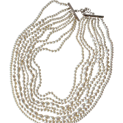 Pearl Necklace Eight Strands of Sea Pearls in Different Sizes Sterling Silver Clasp