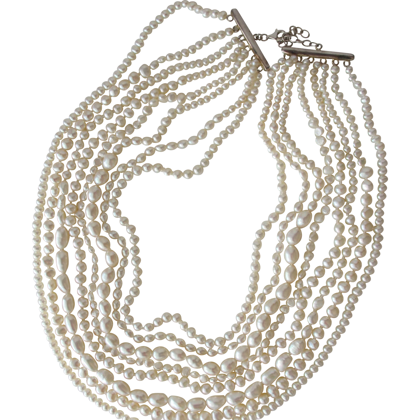 Cultured Pearl Necklace Eight Strands of Freshwater Pearls in Different Sizes Sterling Silver Clasp