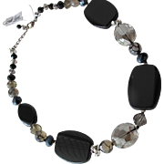 Beaded Black Onyx Necklace with Cut Crystal Beads and Rhinestones
